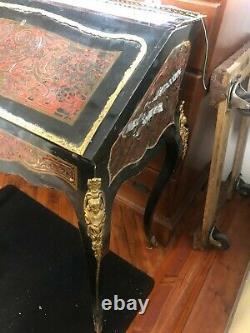 French Louis XV Style Bombe Secretary Desk Ormolu Mounts Black and Red