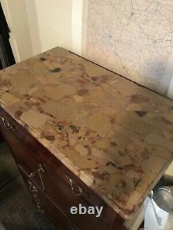 French Rosewood Secretary Abattant Desk 19th Century Marble Top