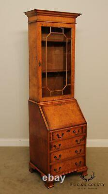 George III Style English Burl Wood Walnut Narrow Bookcase Secretary Desk