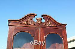 Gorgeous Tall Victorian Rococo Flame Mahogany Secretary Desk Bookcase Ca. 1860