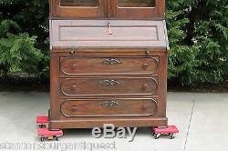 Grand Victorian Solid Rosewood Secretary Desk with Bookcase Top c1865