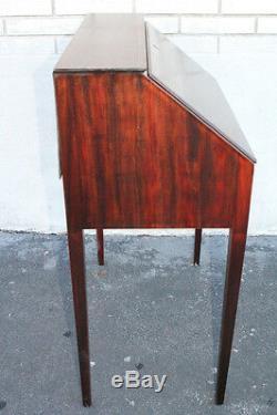 Great English Sheraton Style Inlaid Mahogany Secretary Writing Desk With Drawer