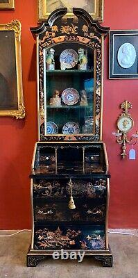 Handpainted Lacquered Japanned Chinoiserie Secretary Desk