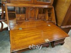 Henkel Harris Solid Solid Black Cherry Secretary Desk With Glass Bookcase