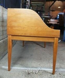 Holmes County Solid Cherry Amish Secretary Office Desk Library Table Leather MCM
