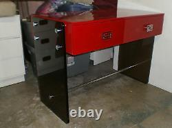 Hot Mod Chinoiserie 70's Red Lacquer Lucite Chrome Desk