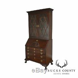 Irion Company Solid Mahogany Chippendale Style Antique Claw Foot Secretary Desk