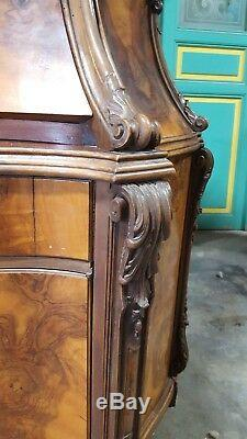 Italian Antique Secretary Desk With Burl Finish And Etched Mirror