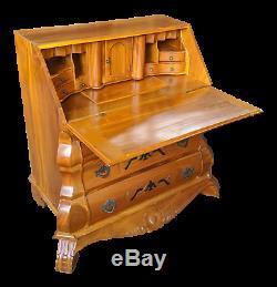 Italian Neoclassical Revival Birch Bombe Secretary Writing Desk Bureau Commode