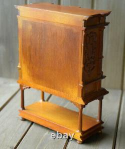 JBM Miniatures Dollhouse Carved Wood Antique Style Secretary Desk Cabinet Drawer