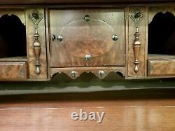 Jacobean Revival Walnut Antique Secretary Flip Top Desk 19Th Century