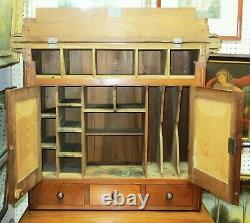LARGE Old Antique ASH WOOD Ladies Secretary Postmaster PLANTATION DESK