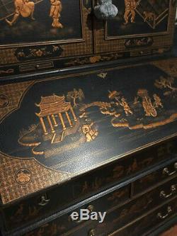 Lacquered Chinoiserie Oriental Secretary Desk Rare Excellent Condition
