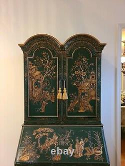 Lacquered Green Chinoiserie Oriental Secretary Desk Slant Front Fitted Interior