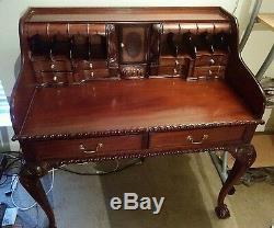 Large 1800s style Secretary desk, hidden drawers hand carved detailed Dark