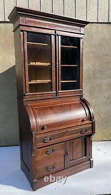 Large American Victorian Burl Walnut Cylinder Secretary Desk Bookcase