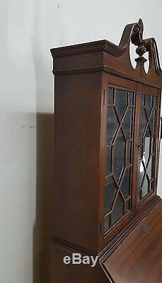 Large Antique American Made Mahogany Secretary Drop Front Desk Cabinet
