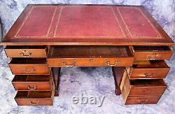 Large Antique English Mahogany Leather Top Office Desk Secretary Writing Table