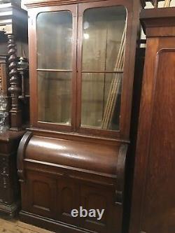 Large Antique Oak Cylinder Secretary Desk Unusual Commercial Railroad Quality