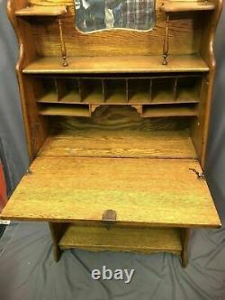 Larkin Soap Company Antique Oak Store Display Drop Desk Secretary Made In USA