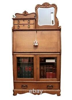 Late 1800s Tiger Oak Secretary Desk Cabinet with Small Mirror 9984