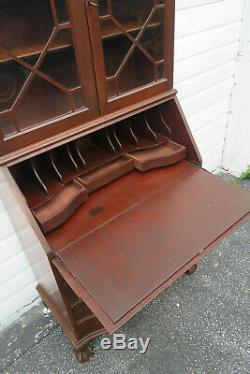 Mahogany Tall Ball and Claw Feet Secretary Desk Cabinet Cupboard 1282