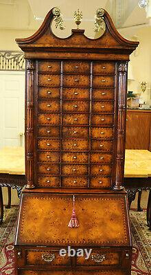 Maitland Smith Attributed Burled Walnut Secretary Desk with Apothecary Drawers
