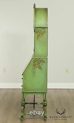 Mechanics Furniture, 1920's Hand Painted Peacock Secretary Desk