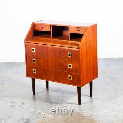 Mid Century Danish Modern Secretary Desk Bureau Denmark Vintage Drawers Vanity