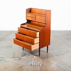 Mid Century Danish Modern Secretary Desk Teak Mirror Desk Denmark Drawers Shelf