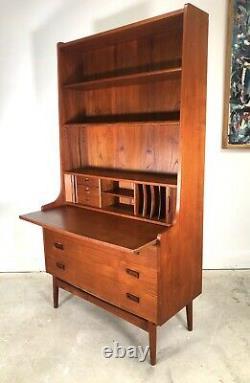 Mid-Century Danish Modern Teak Secretary Desk & Bookcase By Johannes Sorth