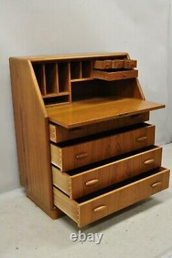 Mid Century Danish Modern Teak Wood Slant Fall Front Secretary Desk Cabinet
