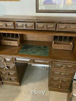Mid Century Modern Roll-Up Secretary Desk with Un-Attached Top Brown Wood