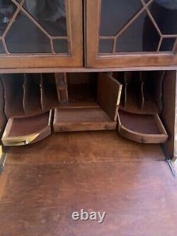 Mohogany Secretary Desk With Bookcase Top