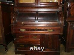 Museum quality victorian walnut cylinder roll desk secretary carved 8ft