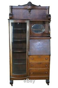National Furniture Antique Side by Side Secretary Desk & Curved Glass Bookcase