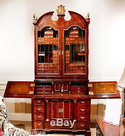 New Custom Chippendale Secretary Desk Bureau Cabinet Flame Mahogany w Rosewood