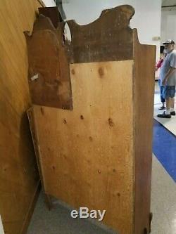Oak Carved Side by Side Secretary Desk