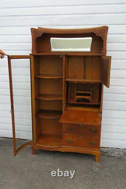 Oak Side by Side Bookcase Display Cabinet with Secretary Desk 1859