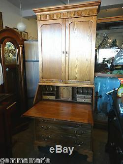 Oak Slat top secretary desk cabinet bookcase by Jasper Cabinet co