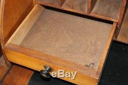 Old Antique 1880's Carved ROLL TOP CYLINDER SECRETARY DESK BOOKCASE