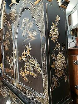Oriental Asian Chinoiserie painted secretary desk cabinet with Many Drawers