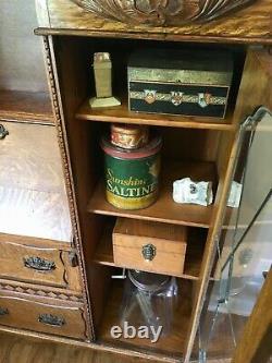 PRICE DROP! GORGEOUS Antique Oak Carved Secretary, Desk IRISH leaded glass