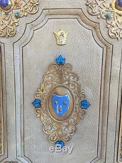 Princess Soraya Pahlavi Leather Enameled Bronze French Blotter Desk Set