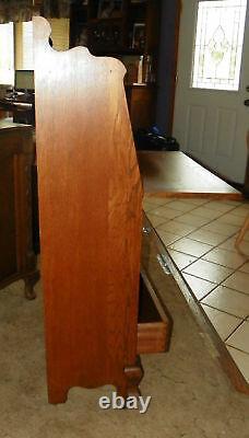 Quartersawn Oak Carved Sheboygan Drop Front Desk (DR36)