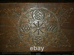 Rare Antique English Oak Secretary Slant Front Gate leg Desk Fine Carved Face