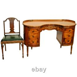 Rare Kidney Desk by Sligh Furniture six drawers includes matching chair