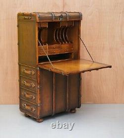 Rare Theodore Alexander Secretary Leather Trunk With Fold Out Desk And Drawers