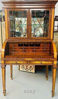 Regency Style Maitland Smith Flame Mahogany Burl Two Part Secretary Desk
