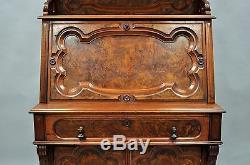 Renaissance Revival Carved Burl Walnut Secretary Writing Desk Slant Drop Front